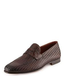 a7929059619 Neiman Marcus Woven Leather   Alligator Penny Loafer
