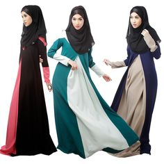 Plus Size Muslim Dress Contrast Color Women Abaya Dresses Fashion Arab Garment Elegant Abaya Turkish Dress Islamic Clothing #Islamic clothing