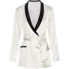Fleur Du Mal + Playboy two-tone silk-satin robe (755 CAD) ❤ liked on Polyvore featuring intimates, robes, jackets, lingerie, pajamas, white, white lingerie, lingerie robe, bath robes and white bath robe