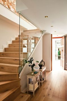 Quarter-turn staircase: examples of how it can be implemented - Fourth . - Quarter-turn staircase: examples of how it can be implemented – Quarter-turn staircase wood w - Open Stairs, Glass Stairs, Wood Stairs, Basement Stairs, Open Basement, Glass Railing, Glass Walls, Stairs In Living Room, House Stairs