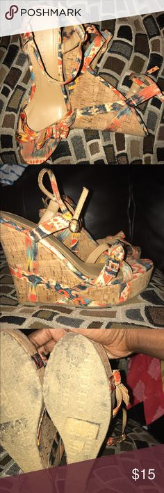 Chinese Laundry Multicolored Wedges Fun summer Wedges that can be dressed up or down. Pairs perfectly with mini skirts or shorts (check my other listing 😬) Chinese Laundry Shoes Wedges