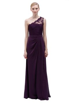 PLUM ONE-SHOULDER GOWN WITH LACE BODICE AND CHIFFON SKIRT