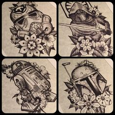 My first four Star Wars inspired dotwork framed prints are now available in my…