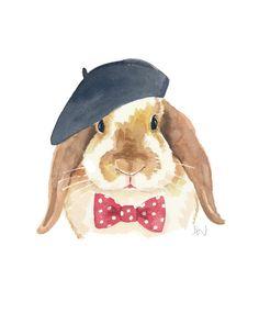 Bunny Rabbit Watercolour Original - Rabbit Painting, French Beret, Polka Dots, Bow tie, 8x10. $40.00, via Etsy.
