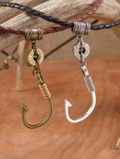 Bullet Jewelry - Men's Shooting and Fishing Themed Braided Leather Cord Necklaces - Fish Hook and Bullet Casing Pendant for Men