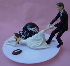 Wedding Cake Topper - Denver Broncos Football Themed Bride...just think we could start with this and have blue and orange bronco themed wedding