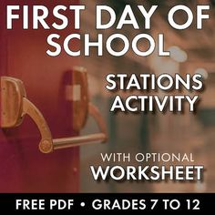 First Day of School Stations Activity, Icebreaker, Middle