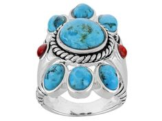 Southwest Style By Jtv(Tm) Cabochon Blue Turquoise And Red Sponge Coral Sterling Silver Ring