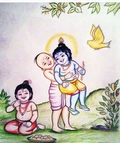 Chubby Madhumangala is Krishna's funny brahmana friend. He loves laddus. Here we see Madhumangala showing off how strong he is after eating laddus. Krishna Avatar, Bal Krishna, Cute Krishna, Lord Krishna Images, Radha Krishna Pictures, Radha Krishna Love, Lord Shiva Painting, Krishna Painting, Krishna Bhagwan