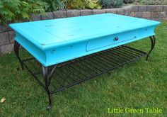 Turquoise Coffee Table… Redesigned by Little Green Table