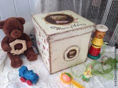 Короб - шкатулка `Мишка`. Этот короб очень вместительный! Это универсальный короб для хранения любых вещей: украшений, бумаг, предметов рукоделия, мелких игрушек, предметов на кухне и т.д.      нутри короба - необработанное красками натуральное дерево.