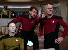 Data, Will Riker, and Captain Picard