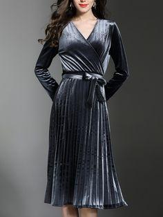 Shop Midi Dresses - Gray Wrap Solid Surplice Neck Long Sleeve Midi Dress online. Discover unique designers fashion at StyleWe.com.