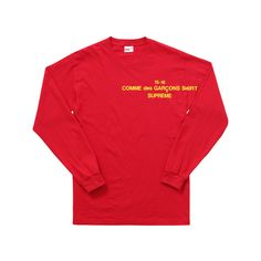 Supreme Comme des Garçons SHIRT /Supreme L/S Tee (£73) ❤ liked on Polyvore featuring tops, t-shirts, comme des garçons shirt, red tee, red top and red t shirt