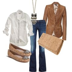 White button down, leather blazer... Super hot mamas!