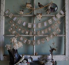 Snowflakes On My Window - Vintage Lace and Burlap Garland