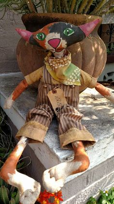 Primitive, Grungy Cali the Calico by UrbanHandmade1 on Etsy