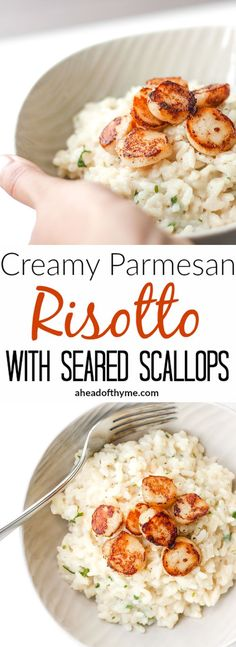 Creamy Parmesan Risotto with Seared Scallops: Up your cooking game with this exquisite creamy parmesan risotto with seared scallops dish that belongs on a restaurant table! | aheadofthyme.com