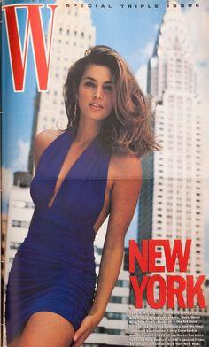 <em>W</em> Magazine's Supermodel Cover Girls - Cindy Crawford on the cover of W Magazine September 1990