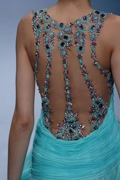 Turquoise Georges Chakra: Gorgeous bling back Gypsy Fashion, High Fashion, Womens Fashion, Dance Fashion, Beautiful Gowns, Beautiful Outfits, Georges Chakra, Lesage, Glamour
