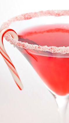 Candy Cane Martini. 2 parts Strawberry Vodka - 1 part Créme De Menthe White - 2-1/2 parts Cranberry Juice. #Holiday #Cocktail #Recipe