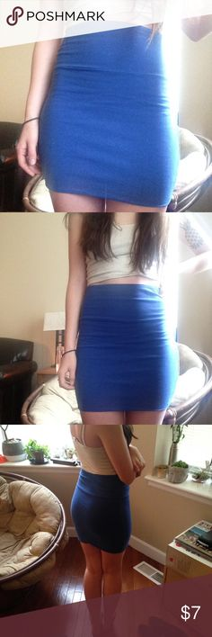 Royal Blue High-wasted Mini Skirt I love this mini skirt 💕 really comfortable and easy to get on and off because it's so stretchy! Size small and brand is Lily Rose. Not UO, just tagged for similar style Urban Outfitters Skirts Pencil