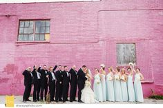 KC Wedding Photographer Wedding Photographer Kansas City Baltimore Club Wedding Downtown Wedding Bridal Party  Wedding Party Pink Wall