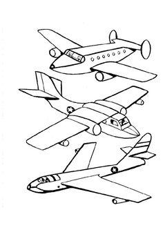 Trois différents avions à colorier