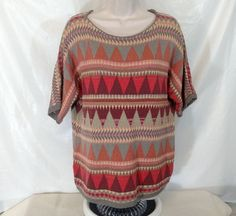 CHAPS Knit Top Sweater Shirt Women Size L Aztec Tribal Southwest Short Slv #Chaps #KnitTop #Casual