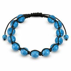 Bracelet With Turquoise Round Beads - 190-300mm Length, 10mm Thickness - Sold Individually Bracelets - Fashion Jewelry. $17.50