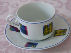 Spal Porcelain - Lisboa Turismo Cup and Saucer - Portugal Porcelain Cup and Saucer - No Damages - Beautiful Colors - Keepsake Collectible by ChicAvantGarde on Etsy