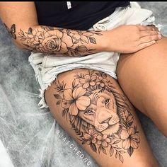 Lion Tattoo On Thigh, Cute Thigh Tattoos, Cute Tattoos, Body Art Tattoos, Amazing Tattoos, Tattoos On Thighs, Thigh Tattoos For Girls, Thigh Sleeve Tattoo, Tatoos