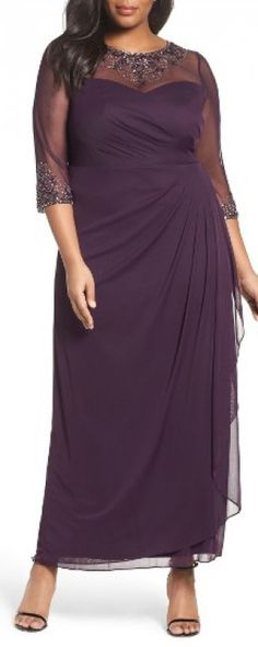 Plus Size Women's Xscape Embellished Illusion Gown, Size 16W - Purple