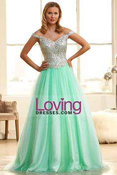 2015 Off The Shoulder Ball Gown Prom Dresses Sweep Train Tulle With Beads And Rhinestone $311.99 #tulle #prom #bridal #beads #with #wedding dress #bridal gown #the #ball #rhinestone #gown #train #and #2015 #dresses #sweep #wedding #off #shoulder #my wedding