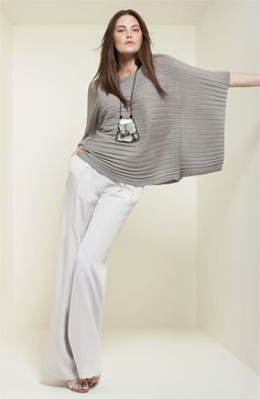 Lafayette 148 New York Poncho Sweater & Silk Pants, Nordstrom.  Entire outfit can be yours for $1063.95.