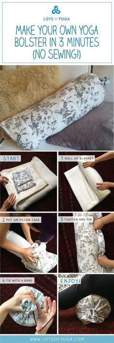 How to make your own yoga bolster in 3 minutes (no sewing)!