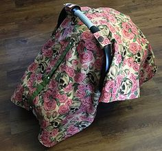 Minky skull and roses carseat canopy infant by BabySisterCanopies