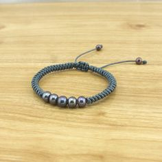 5 Peacock Pearl Bracelet - Adjustable Bracelet - Woven thread bracelet - Knot bracelet - Grey Bracelet - Friendship Bracelet - ETS-B431