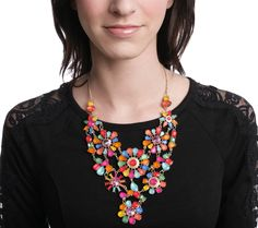 Send the Trend Geometric Blossom Bib Necklace