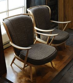 pair of Ercol armchairs Ercol Chair, Ercol Furniture, Mid Century Modern Armchair, Cool Chairs, Armchairs, Accent Chairs, Upholstery, Dining Table, Window Seats