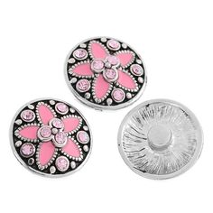2014 New 5PCs Snap Press Buttons Enamel Pink Flower Carved Bracelet Jewelry