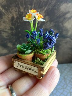 Two potted flowers and a tiny succulent plant are nestled into a hand made crate. The crate has been stained, distressed and labeled. The daffodils are perfectly gorgeous and made of clay. A small piece of green burlap is tucked inside the crate. Each pot has been aged and filled