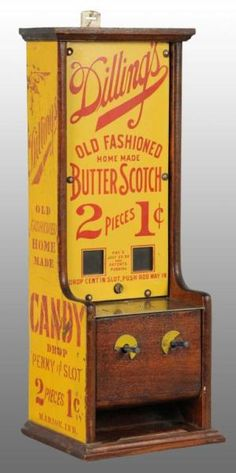 Description :  Dilling's Butter Scotch Candy Dispenser. Patent date July 25, 1899. Penny mechanisms are frozen. Very rare machine. Side panels have stenciled advertising. Directions can be found inside of door on how to operate and fill the machine. Includes key and weights. Estimate :   6,000.00 - 9,000.00 USD Price Realized :  15,795.00 USD