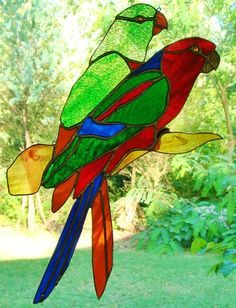 Huge Tropical Parrots Pair Male Female Stained Glass