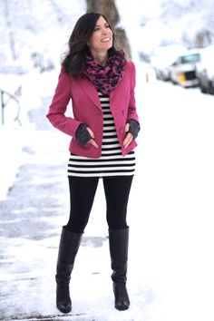 Pink jacket #madeinUSA outfit, black and white stripes, black leggings and tall black boots