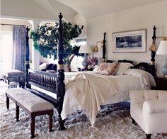 bed, rug, linens, light