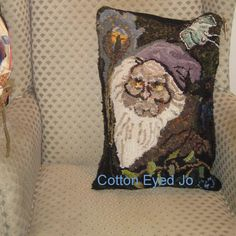 Hand Hooked Wizard/Owl Pillow The Brown Wizard  by cottoneyedjo, $125.00