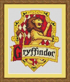 Thank you for looking!    Available here for download are the documents required to cross stitch the above design of the Gryffindor House