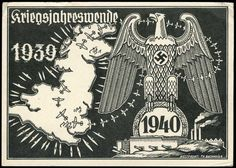 Kriegsjahreswende: seltene s/w.-Propagandakarte mit Darstellungen des Reichsadlers auf einem Bunker sowie die engl. Insel von deutschen Flugzeugen und U-Booten umlagert. Echt als Feldpostkarte am 27.12.1939 nach München gelaufen, kl. Eckmängel.