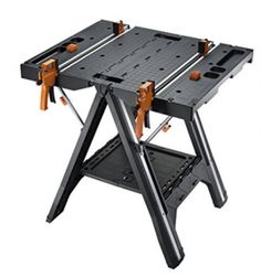 WORX Pegasus Multi-Function Work Table and Sawhorse with Quick Clamps and Holding Pegs – - Portable Workbench Portable Workbench, Folding Workbench, Workbench Ideas, Workbench Drawers, Workbench Designs, Garage Workbench, Table Saw, A Table, Console Table